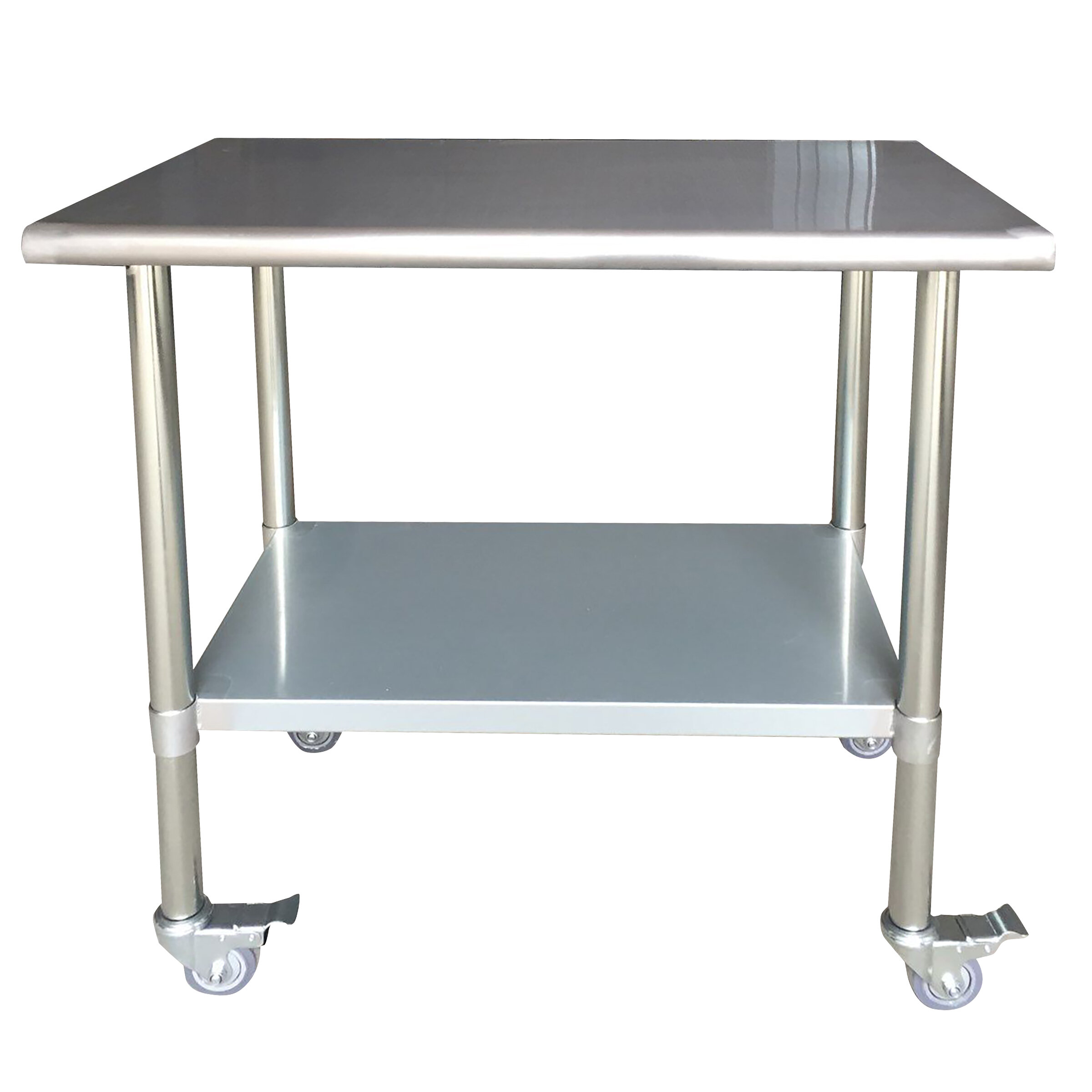 AmeriHome Stainless Steel Top Workbench with Casters | Wayfair
