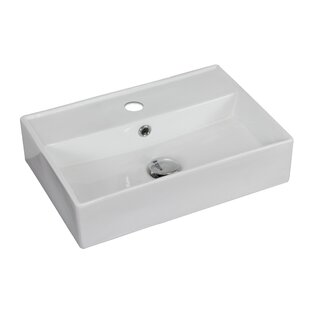 Inexpensive Ceramic 18 Wall Mount Bathroom Sink with Faucet and Overflow ByAmerican Imaginations