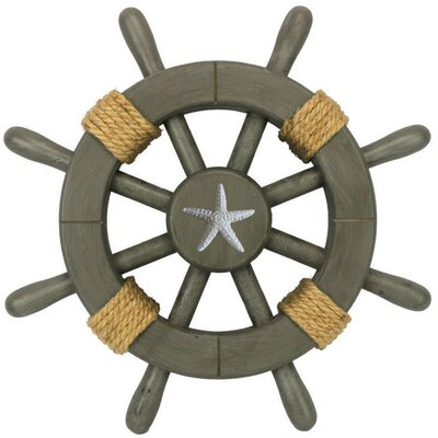 """Handcrafted Nautical Decor Ship Wheel with Starfish Wall Decor Size: 12"""" L x 1"""" W x 12"""" H, Colour: Antique"""