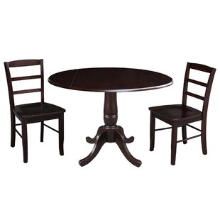 Spitzer Round Top Pedestal Extending 3 Piece Drop Leaf Solid Wood Dining Set