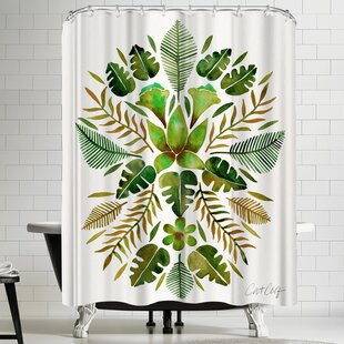 Tropical Symmetry Green Single Shower Curtain