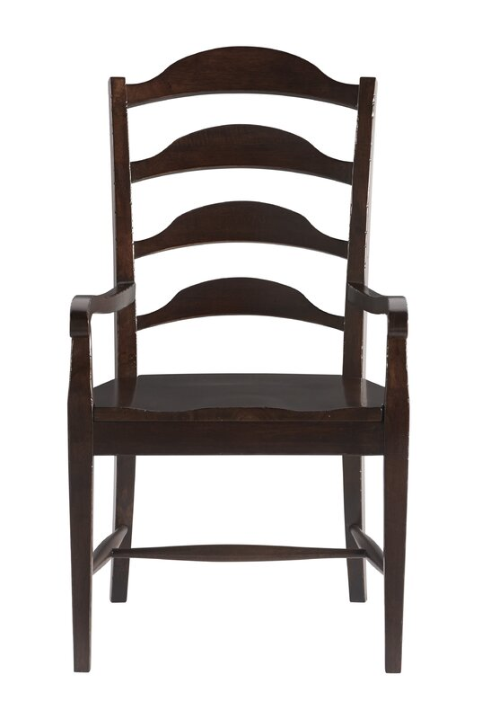 Canora Grey Jefferey Solid Wood Dining Arm Chair in Brown (Set of 2)