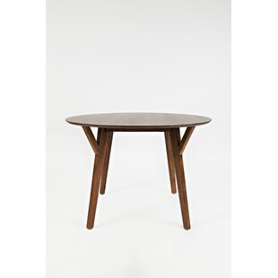 Coonrod Wooden Round Solid Wood Dining Table with Slanted Leg Union Rustic