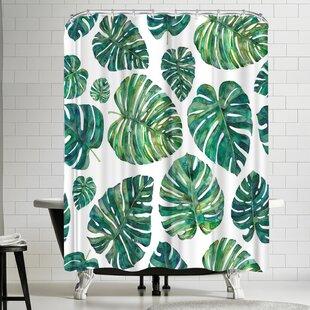 Elena Oneill Tropical Leaves Single Shower Curtain