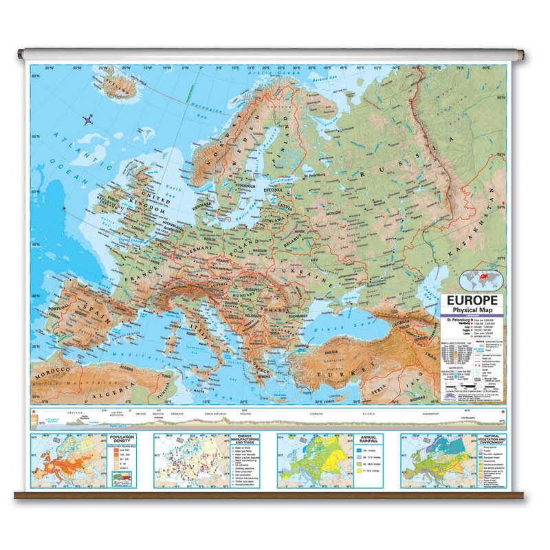 Universal Map Advanced Physical Map - Europe | Wayfair