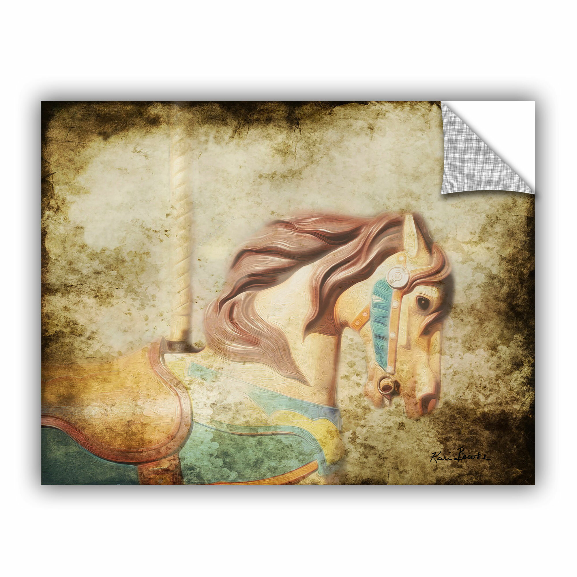Winston porter route vintage carousel iii wall mural wayfair for Carousel wall mural