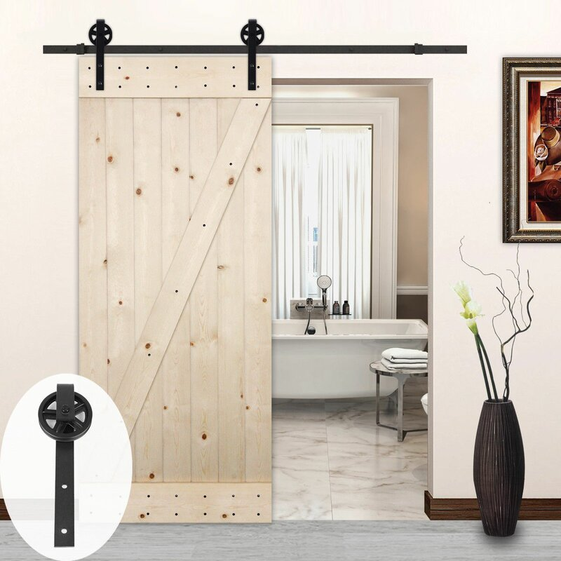 Big Wheel Style Sliding Wood Track Kit Barn Door Hardware