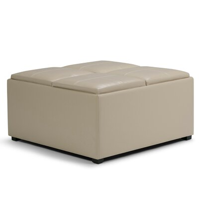 Agnon Storage Ottoman Upholstery Color: Faux Leather Satin Cream by Alcott Hill
