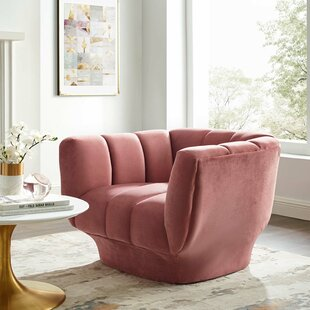Demmer Vertical Channel Tufted Performance Velvet Barrel Chair