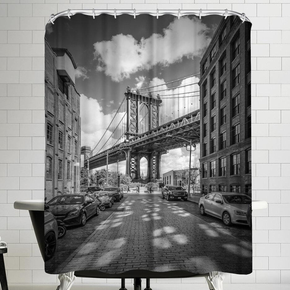 East Urban Home Melanie Viola New York City Manhattan Bridge Single Shower Curtain Wayfair