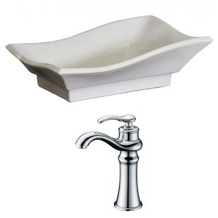 Quick Order Ceramic U Shaped Bathroom Sink With Faucet And Overflow By American Imaginations