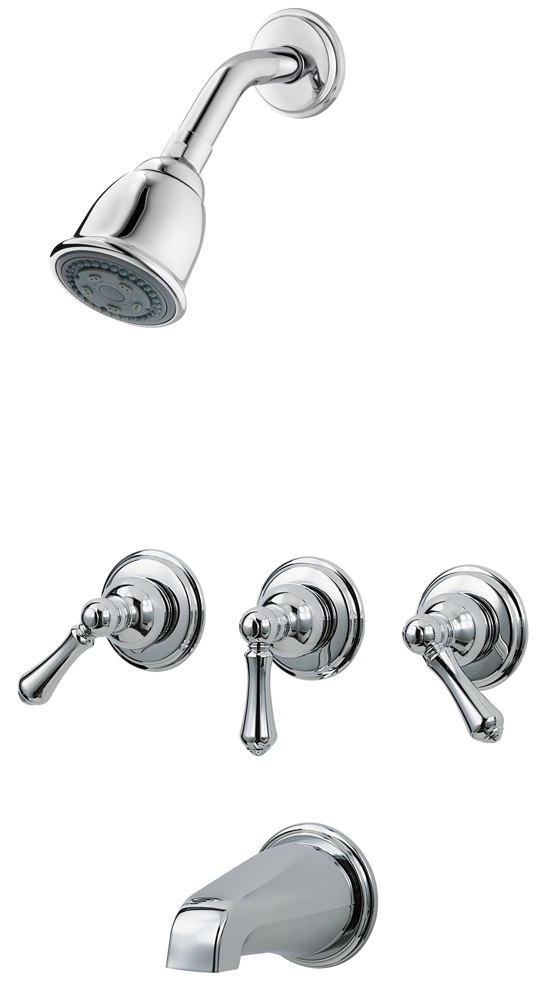 3 Handle Thermostatic Tub And Shower Faucet With Trim