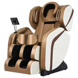 2021 Integrated Fullbody Air Bag Zero-Gravity 8D Reclining Heated Electric Massage Chair Space Capsule With Ottoman, Khaki And Beige