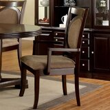 Wardlow Upholstered Arm Chair in Dark Walnut (Set of 2) by Canora Grey