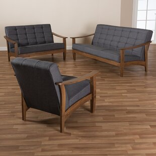 Constantin Mid-Century Modern Gray Fabric Upholstered Walnut Wood 3-Piece Living Room Set by George Oliver