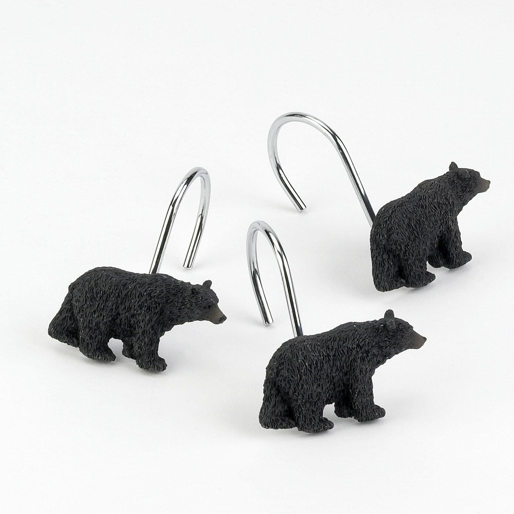 Avanti Black Bear Bath Collection Shower Curtain and Bath Accessories