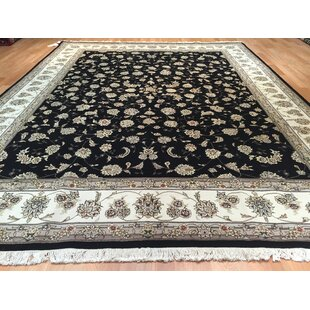 Drummaul Hand-Knotted Black/Beige Area Rug ByCanora Grey