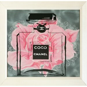'Pink Rose Floral Coco Chanel' Framed Painting Print