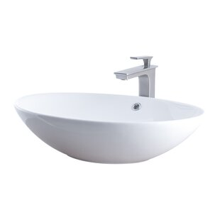 Compare Ceramic Oval Vessel Bathroom Sink with Faucet and Overflow By Novatto