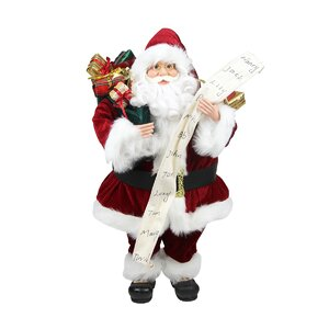 Standing Santa Claus with Naughty or Nice List and Bag of Present Christmas Figure