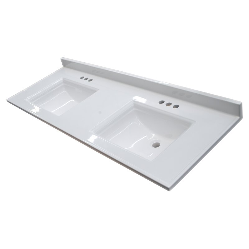 Design House Camilla 61 In Cultured Marble Vanity Top In Solid White With Double Basin Wayfair