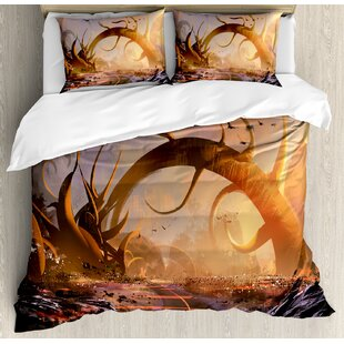 Fantasy Art House Fairy Fiction Design with Mystic Twisted Branches on Highway Sunset Duvet Set by Ambesonne