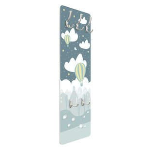 Cloudy Sky With Trees And Houses Wall Mounted Coat Rack By Symple Stuff