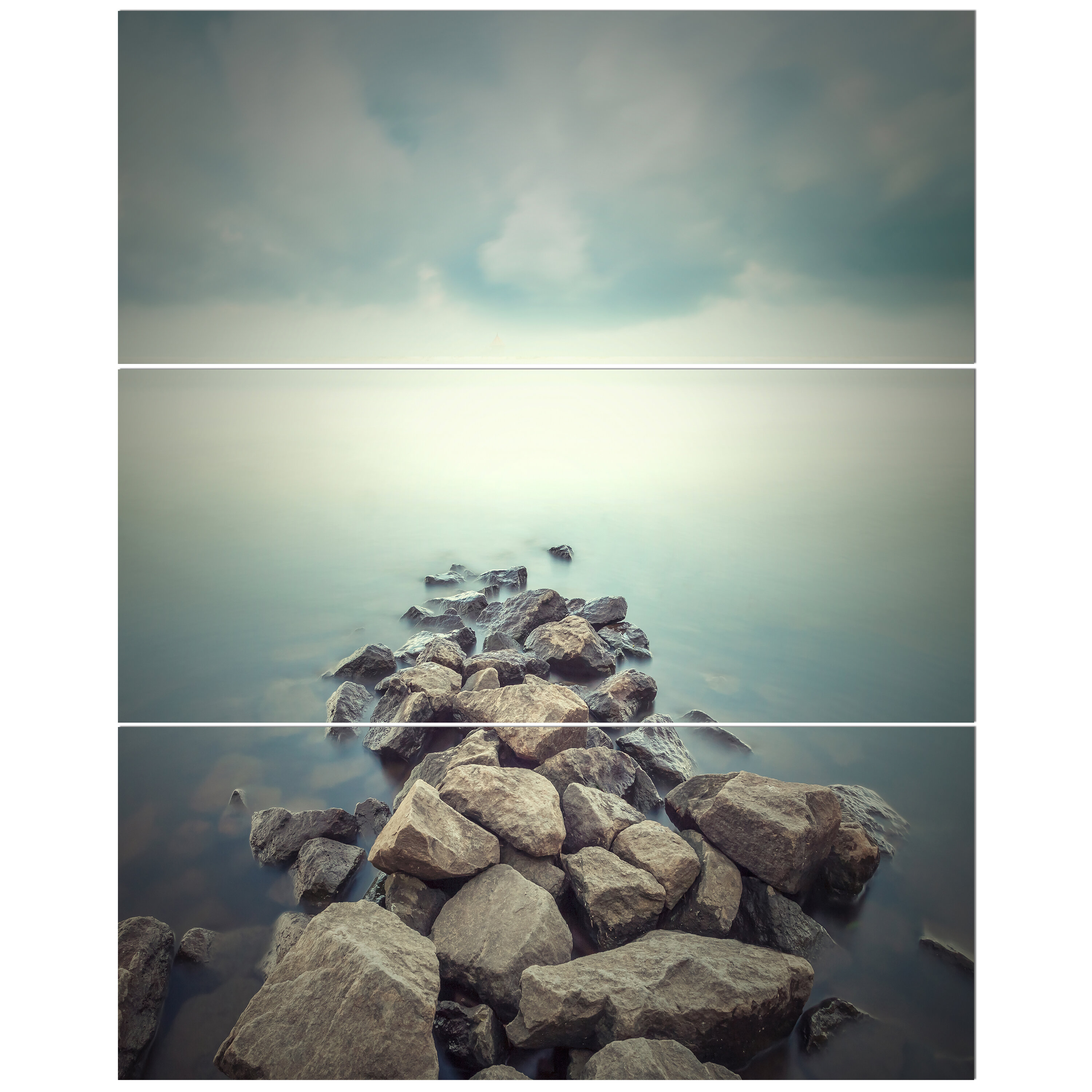East Urban Home Rocks In Misty Photographic Print Multi Piece Image On Wrapped Canvas Wayfair