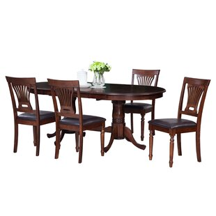 Doretha Traditional 5 Piece Solid Wood Dining Set with Dual Pedestal Table DarHome Co