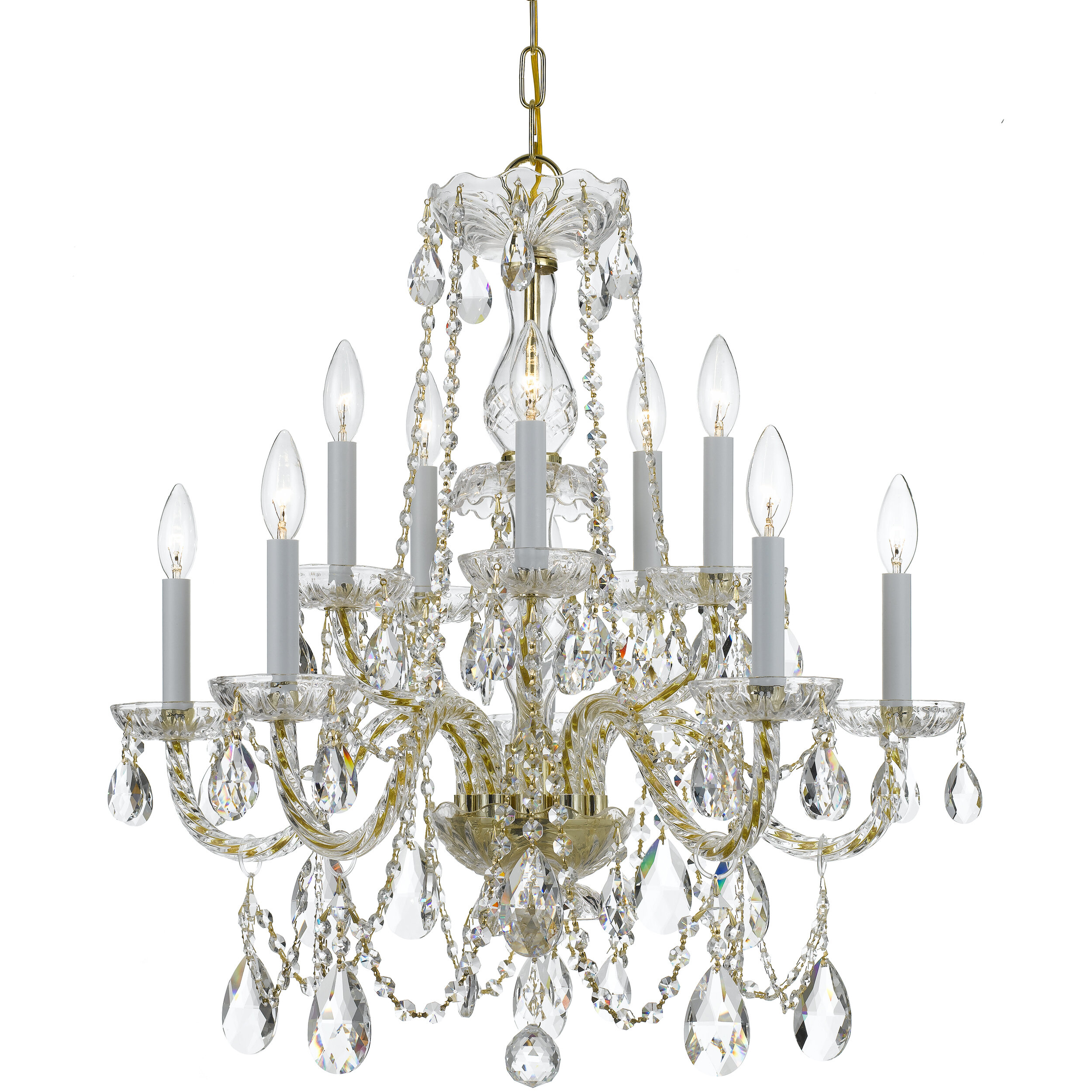 House Of Hampton Milan 10 Light Candle Style Classic Traditional Chandelier With Crystal Accents Reviews Wayfair