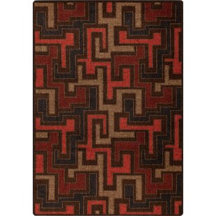 Affordable Price Arrowood Red Umber Junctions Rug By Ebern Designs