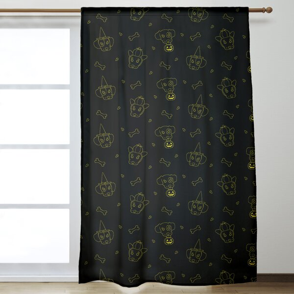 East Urban Home Halloween Dogs Solid Color Room Darkening Rod Pocket Single Curtain Panel Wayfair