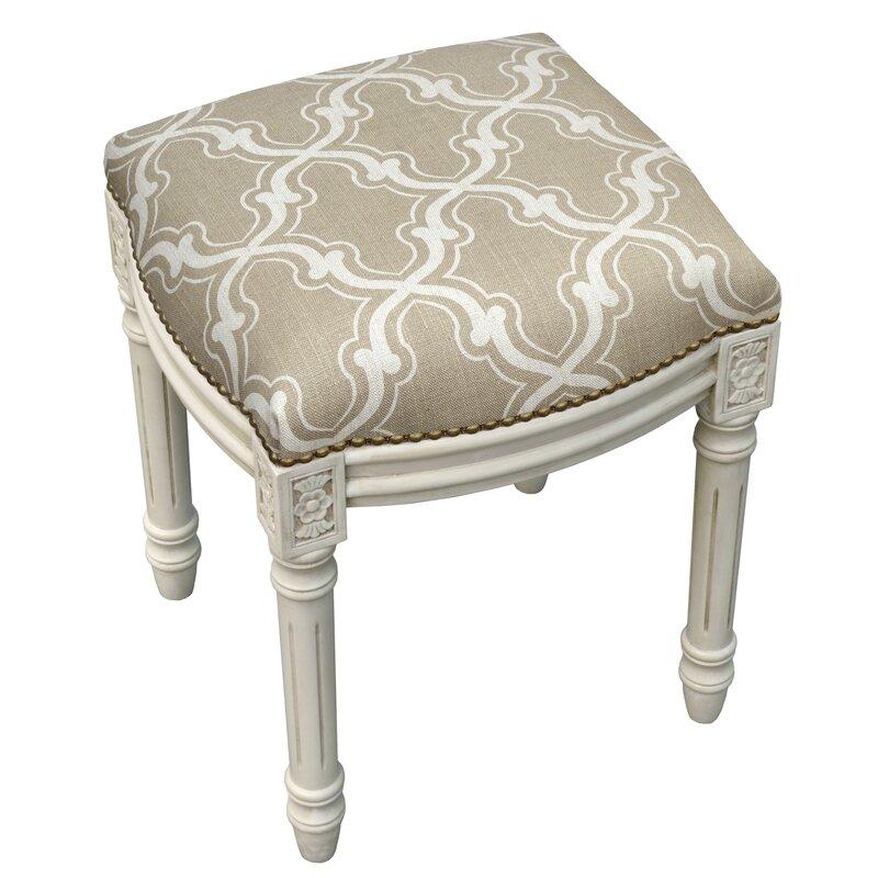 123 Creations Trellis Linen Upholstered Vanity Stool Reviews Wayfair