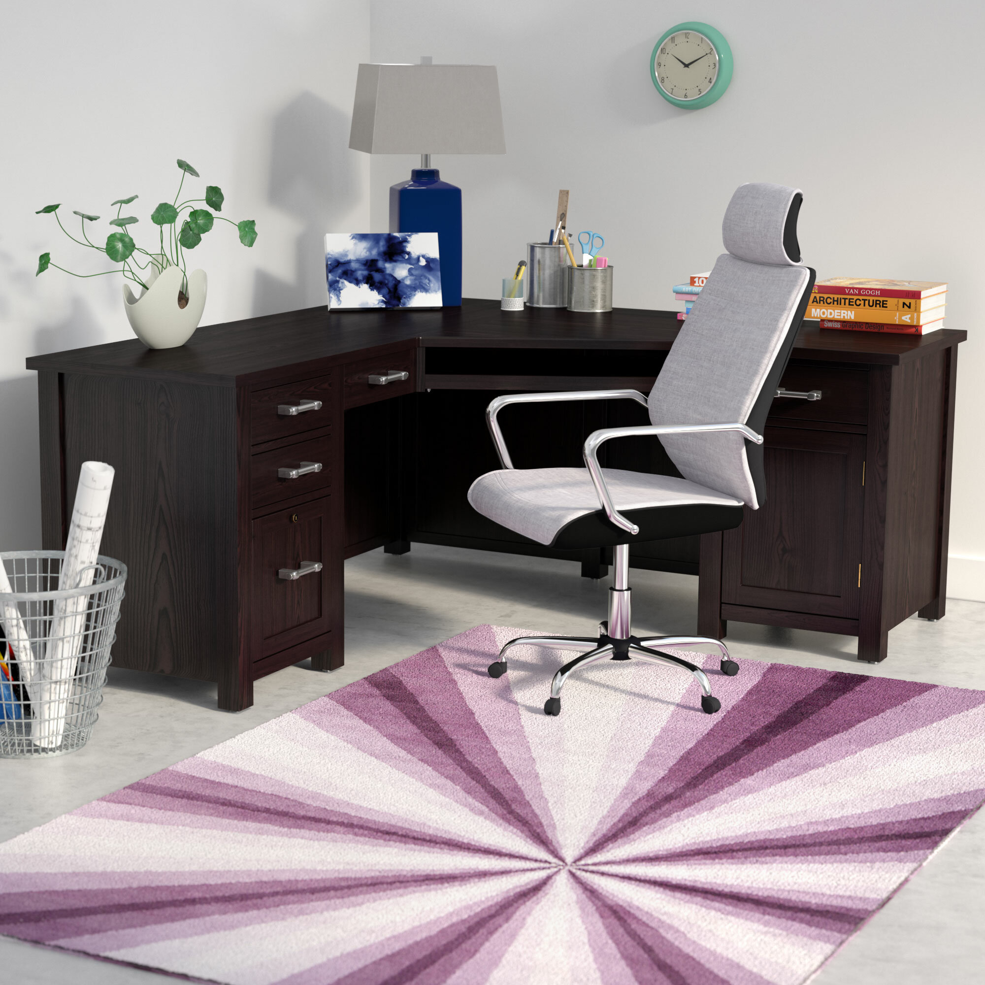Fine Powell 66 Wedge L Shape Executive Desk Home Interior And Landscaping Synyenasavecom