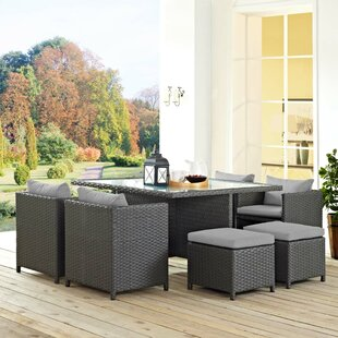 Brayden Studio Leda 9 Piece Rattan Sunbrella Dining Set with Cushions