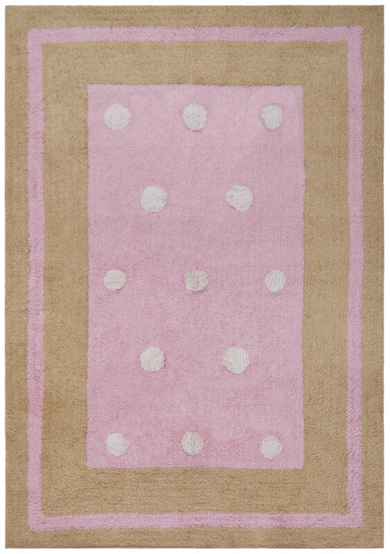 Carousel Pink Border Dots Area Rug