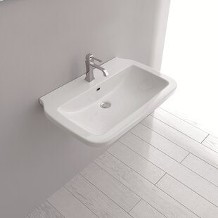 WS Bath Collections Nova Ceramic Ceramic Rectangular Vessel Bathroom Sink with Overflow