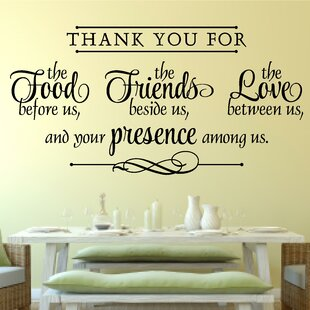 Thank You for Food Friends Love Religious Decor Vinyl Wall Decal  sc 1 st  Wayfair & Religious Christian Wall Decal | Wayfair