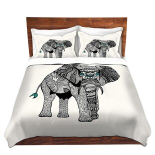 Bungalow Rose Winder Pom Graphic Design One Tribal Elephant Microfiber Duvet Covers