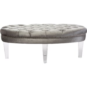 Edna Oval Microsuede Fabric Upholstered Luxe Tufted Ottoman by Wholesale Interiors