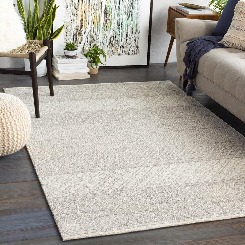 Industrial Lodge Home Abdera Geometric Handmade Tufted Wool Gray Cream Area Rug Reviews Wayfair