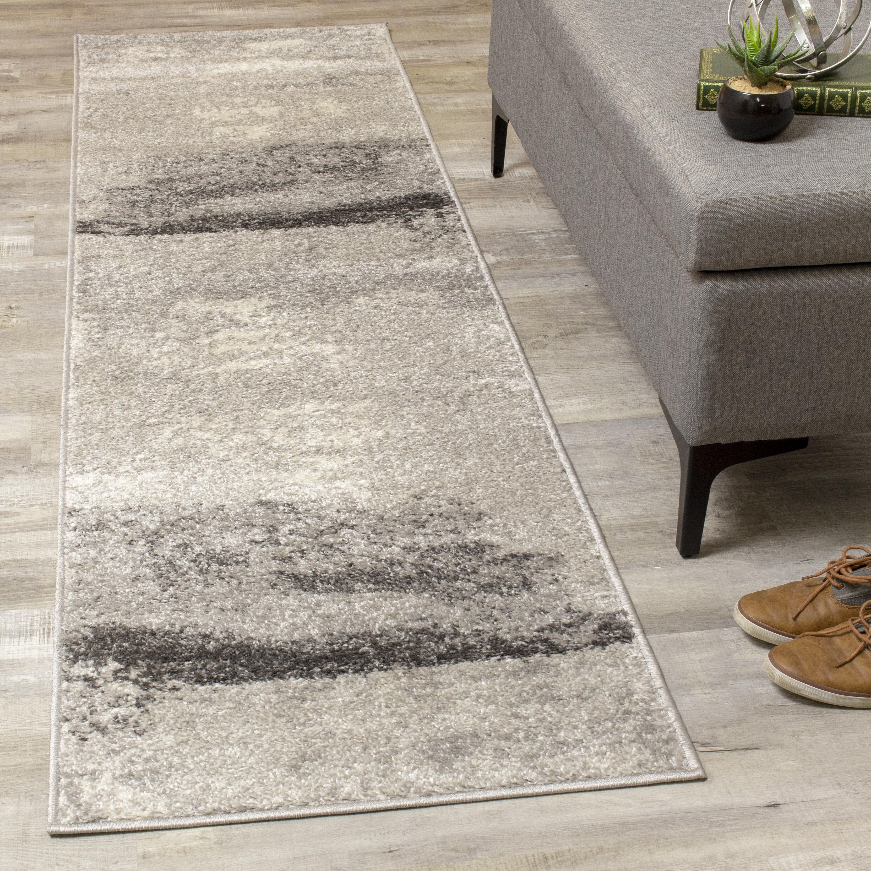 Brayden Studio Benn Abstract Cool Gray Area Rug Reviews Wayfair