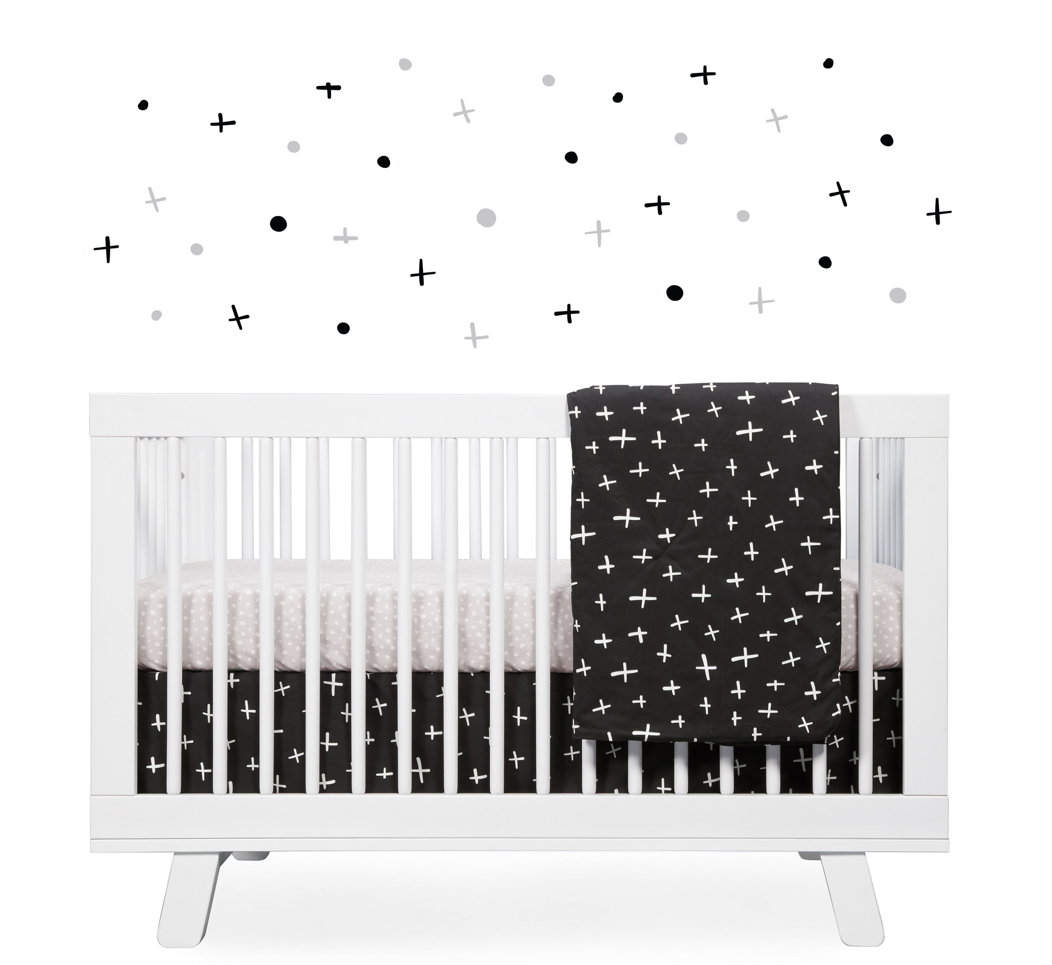 Tuxedo Monochrome Nursery 5 Piece Crib