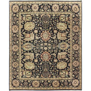 Looking for One-of-a-Kind Brokaw Genuine Oriental Hand-Knotted 7'11 x 9'11 Wool Black/Beige Area Rug By Isabelline