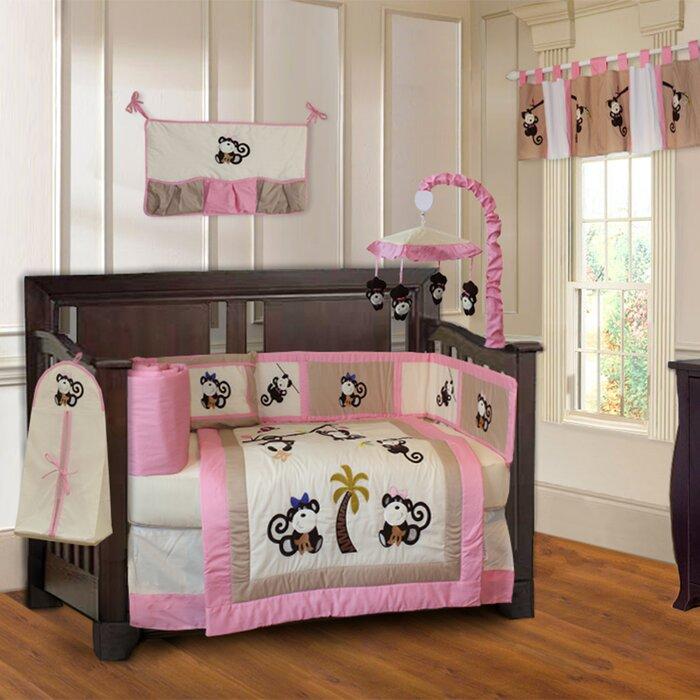 Slattery Monkey 9 Piece Crib Bedding Set