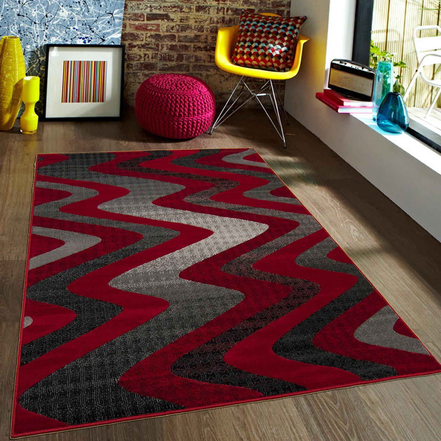 Latitude Run Keeler High Quality Drop Stitch Wavy Linear Designed Red Area Rug Wayfair