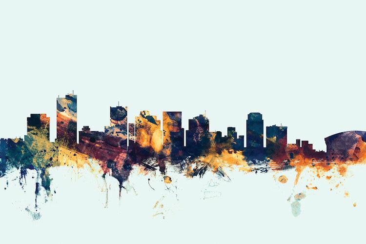 East Urban Home Skyline Series Phoenix Arizona Usa Graphic Art On Wrapped Canvas In Blue Wayfair