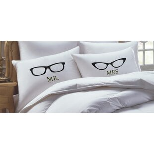2 Piece Geeky Glasses His Hers Pillowcase Set