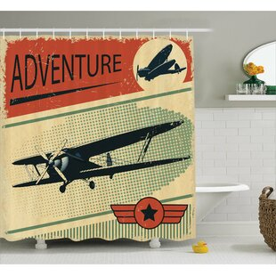 Nostalgic Small on Dotted Grunge Backdrop Military Adventure Airpark Plane Graphic Shower Curtain Set