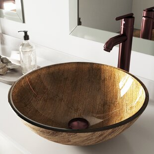 Comparison Amber Sunset Seville Glass Circular Vessel Bathroom Sink with Faucet By VIGO